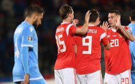 Россия завершила год на 38-й строчке рейтинга ФИФА